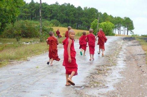 Jeunes moines sur une route du Myanmar (photo: Paula Roy)